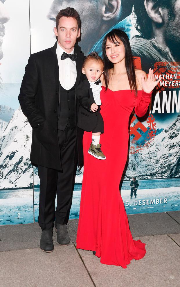 Jonathan Rhys Meyers with wife Mara and son Wolf attend the premiere of The 12th Man at Fredrikstad Cinema on December 18, 2017 in Fredrikstad, Norway. (Photo by Rune Hellestad - Corbis/Corbis via Getty Images)