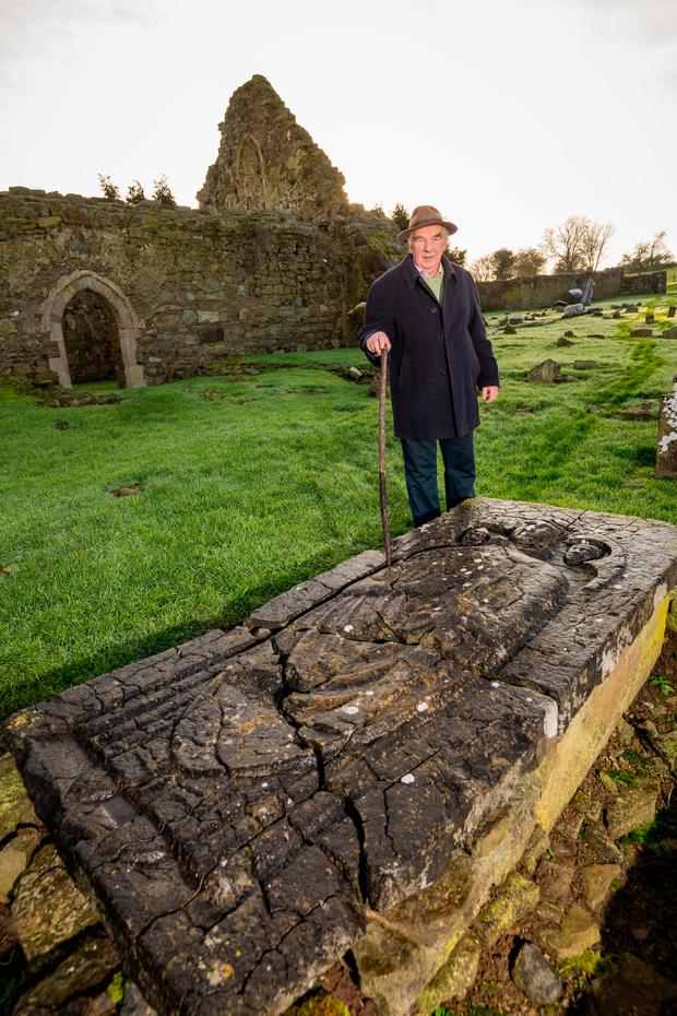 Joe O Connell pictured at the tomb of St Nicholas at Jerpoint Park in Thomastown Co. Kilkenny (Picture Dylan Vaughan)