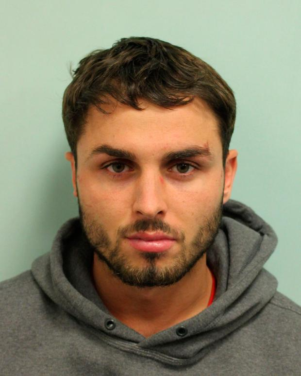 Undated Metropolitan Police handout photo of Arthur Collins, the ex-boyfriend of reality TV star Ferne McCann, who was found guilty of a nightclub acid attack will be sentenced today. Photo: Metropolitan Police/PA Wire