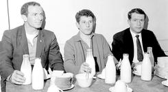 Preparing for an All-Ireland treble bid – pints of milk and sandwiches after training for Galway's John Donnellan, Colie McDonagh and Cyril Dunne in 1966
