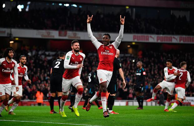 Soccer Football - Carabao Cup Quarter Final - Arsenal vs West Ham United - Emirates Stadium, London, Britain - December 19, 2017 Arsenal's Danny Welbeck celebrates scoring their first goal REUTERS/Dylan Martinez