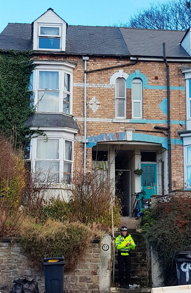 Police outside a property in the Meersbrook area of Sheffield as four men have been arrested on suspicion plotting terror attacks. Photo: Dave Higgens/PA Wire