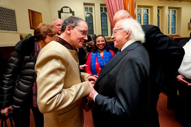 President Michael D Higgins with Billy Weekes at the Dublin Central Mission. Photo: Maxwell's