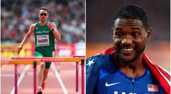 Thomas Barr (left) and Justin Gatlin (right).