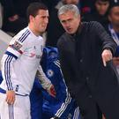 Jose Mourinho speaks with Eden Hazard during Chelsea days