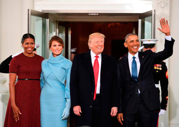 January 20, 2017: Former US President Barack Obama and Former First Lady Michelle Obama welcome US President Donald Trump and his wife First Lady Melania to the White House as he is sworn in as the 45th president of the United States.