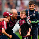 Galway manager Micheál Donoghue celebrates with his sons Niall, Con and Cian after the GAA Hurling All-Ireland Senior Championship Final match between Galway and Waterford at Croke Park in Dublin. Photo by Brendan Moran/Sportsfile