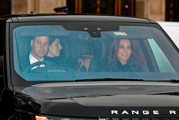 The Duke and Duchess of Cambridge arriving for the Queen's Christmas lunch at Buckingham Palace, London