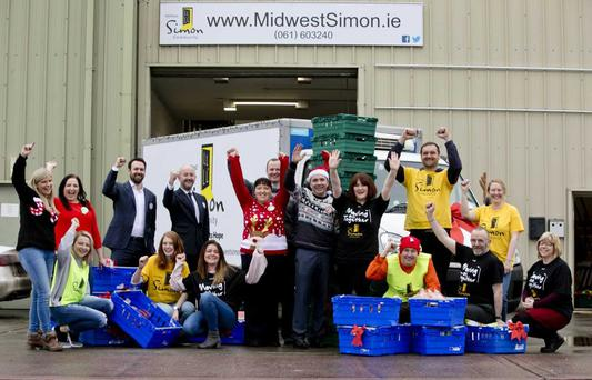 Tesco arrive at the Mid-West Simon Community with Christmas hampers for those in need