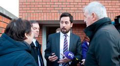 Housing Minister Eoghan Murphy with local residents at an inspection of social housing units at Knocknarea Court, Drimnagh. Photo: Gareth Chaney Collins