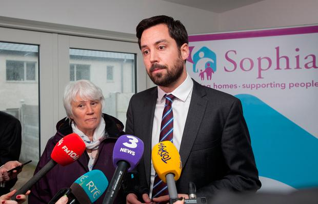 Minister for Housing, Planning and Local Government Eoghan Murphy TD during an inspection by the Minister of 29 new rapid-build social housing units at Knocknarea Court, Drimnagh. Photo: Gareth Chaney Collins