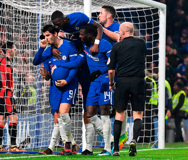 Spanish striker Alvaro Morata (left) celebrates scoring Chelsea's winning goal. Photo: Getty Images