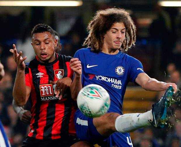 Chelsea's Ethan Ampadu clashes with Bournemouth's Lys Mousset. Photo: Paul Childs/Reuters