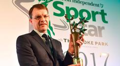 Aidan OBrien winner of the Irish Independent Sportstar of the Year 2017 award pictured at the star-studded 29th Irish Independent Sportstar Awards hosted in Croke Park Stadium in association with The Croke Park Hotel. Photo by Seb Daly/Sportsfile