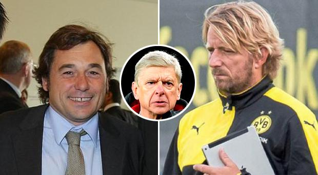 Raul Sanllehi (left) and Sven Mislintat (right) have joined Arsenal. Arsene Wenger (inset).
