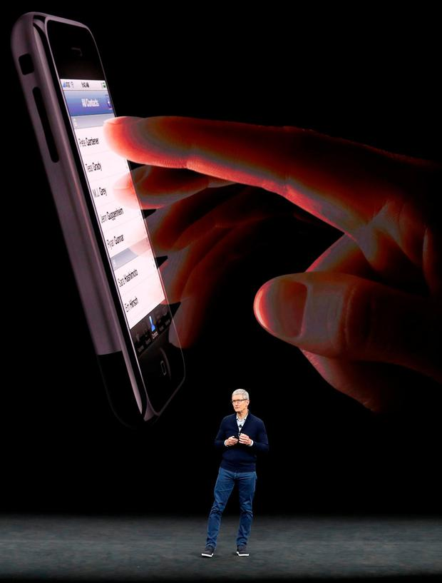 Apple CEO Tim Cook launches the iPhone 8 in California earlier this year. Photo: Reuters