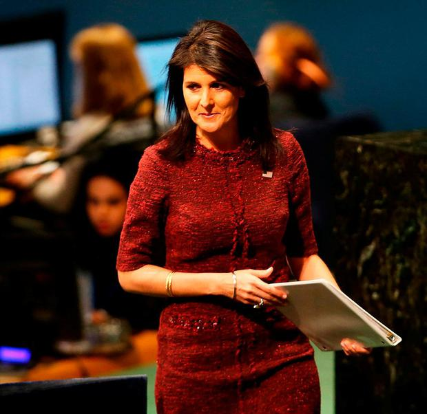 Nikki Haley, United States Ambassador to the United Nations, prepares to speak on the floor of the General Assembly. Photo: Spencer Platt/Getty Images