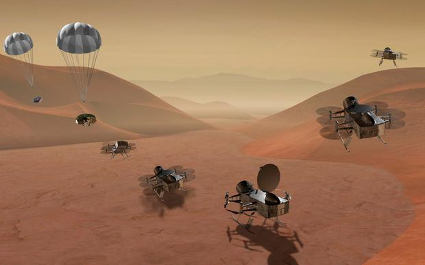 The Dragonfly helicopter which will fly over the surface of Titan