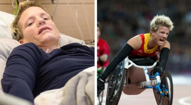 Marieke Vervoort celebrates after winning a gold medal at the London Paralympics in 2012 (right) and displaying her incredible defiance in a Brussels hospital (left) CREDIT: WIKTOR DABKOWSKI / AFP