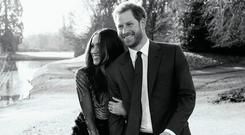 A third official engagement photo released by Kensington Palace of Prince Harry and Meghan Markle taken by Alexi Lubomirski earlier this week at Frogmore House, Windsor.