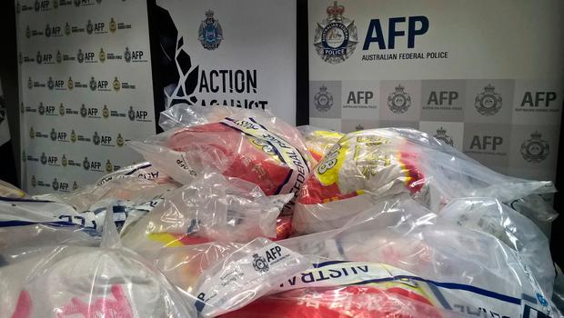 In this photo provided by the Australian Border Force, methamphetamine is displayed in Perth, Australia, Friday, Dec. 22, 2017. (Australian Border Force via AP)