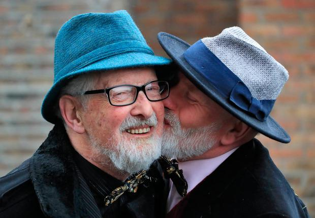 Matt Murphy (85) (wearing spectacles) and Michael O'Sullivan (58) pictured after their wedding at the Registrar's Office, Lower Grand Canal Street, Dublin this afternoon.Picture Colin Keegan, Collins Dublin.