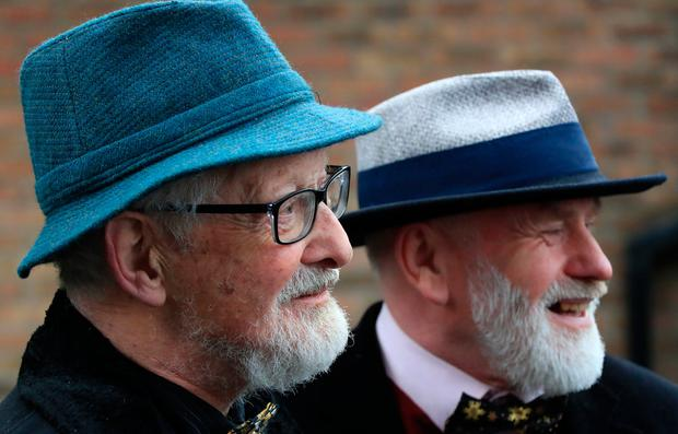 Matt Murphy (85) and Michael O'Sullivan (58) pictured after their wedding at the Registrar's Office, Lower Grand Canal Street, Dublin this afternoon. Picture Colin Keegan, Collins Dublin.