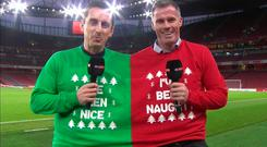 Gary Neville and Jamie Carragher in a two-person Christmas jumper