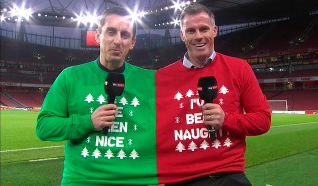 Gary Neville Wears Liverpool Shirt, Makes Carragher Wear United Top