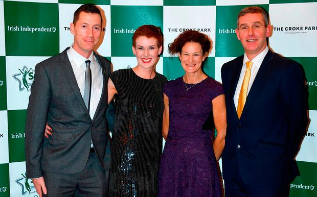Sonia O'Sullivan with David Matthews, Niamh Matthews and Gerard Hartmann at the Irish Independent Sportstar of the Year awards in association with The Croke Park Hotel, where she was inducted into the Irish Independent Hall of Fame. Photo: Sam Barnes/Sportsfile