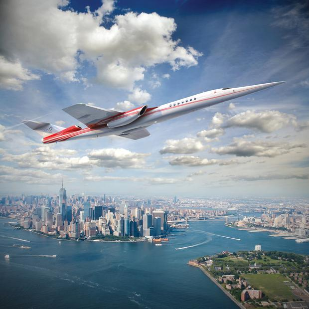 An artist's impression shows an Aerion AS2 supersonic airliner