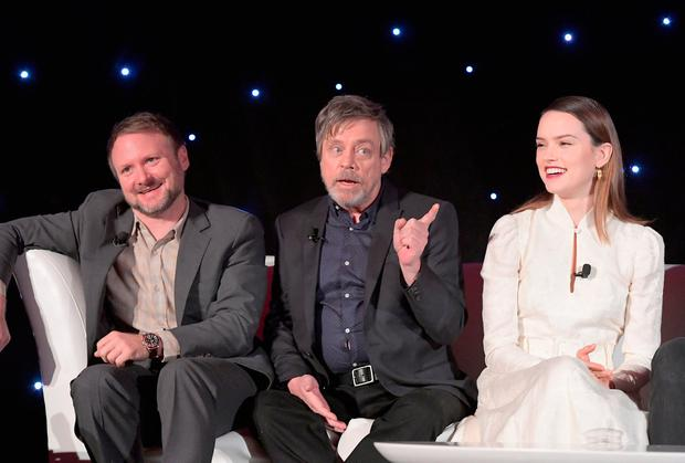 (L-R) Director Rian Johnson, actors Mark Hamill and Daisy Ridley attend the press conference for the highly anticipated Star Wars: The Last Jedi at InterContinental Los Angeles on December 3, 2017 in Los Angeles, California. (Photo by Charley Gallay/Getty Images for Disney )