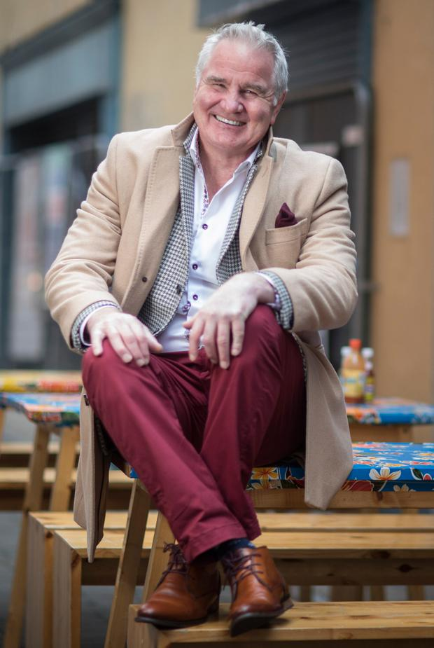 Rugby pundit Brent Pope wearing clothes from his own range. Picture: Fergal Phillips