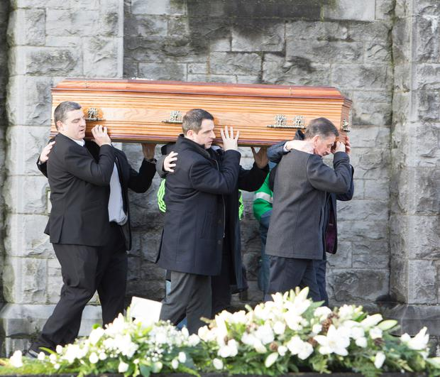 The funeral mass of Rose Hanrahan took place in Limerick at St Michael's Church and the cortege stopped briefly outside her home on the way to the graveyard.