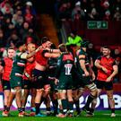 Members of both teams tussle during the European Rugby Champions Cup match between Munster and Leicester Tigers at Thomond Park in Limerick. Photo: Stephen McCarthy/Sportsfile