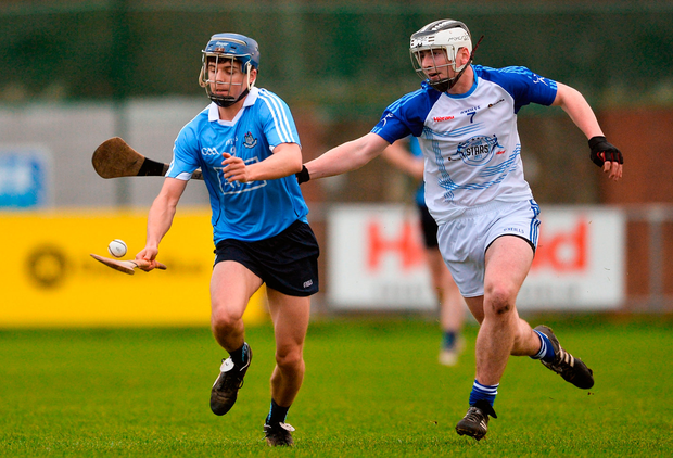 Cillian Costello of Dublin in action against Peter Feeney of Dub Stars during the Annual Dub Stars Hurling Challenge match Photo: Sportsfile