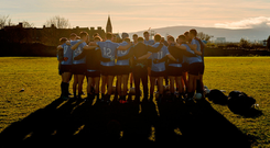 Dublin players in a huddle before the annual Dub Stars Football Challenge at St Vincent's club grounds in Dublin yesterday. Photo: Piaras Ó Mídheach/Sportsfile