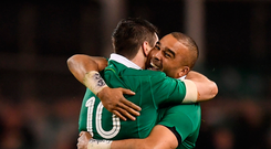 Simon Zebo and Johnny Sexton embrace after Ireland beat England in the Six Nations at the Aviva Stadium in March. Photo: Stephen McCarthy/Sportsfile