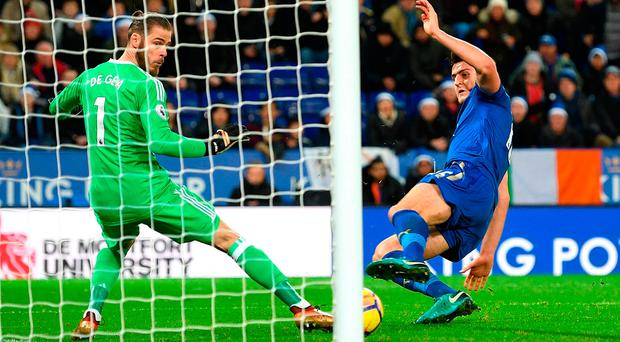 Harry Maguire squeezes the ball past David de Gea for Leicester City's injury time equaliser