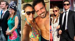 (L to R) James Matthews and Pippa Middleton, Vogue Williams and Spencer Matthews and Rory McIlroy and Erica Stoll