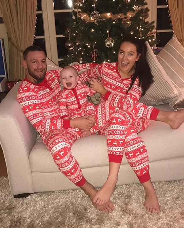 Conor McGregor and Dee Devlin with Conor Jr at Christmas