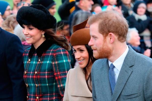 (L-R) Catherine, Duchess of Cambridge, Meghan Markle and Prince Harry attend Christmas Day Church service at Church of St Mary Magdalene on December 25, 2017 in King's Lynn, England. (Photo by Chris Jackson/Getty Images)
