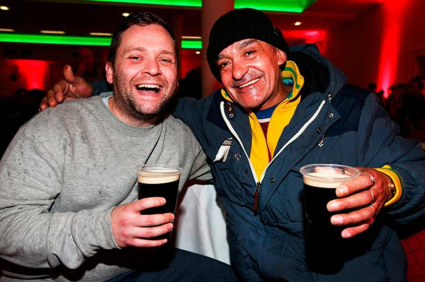 Gavin Kearns and Gerry Moran at the Christmas Day Dinner at the RDS. Photo: Steve Humphreys
