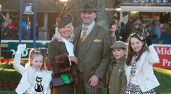 Gillian Gilbourne, who was announced as the Cliff at Lyons most Stylish Lady with her husband Raymond and children Maraux, Patrick and Sile Jessica at the Leopardstown Races in Dublin. Photo: Damien Eagers