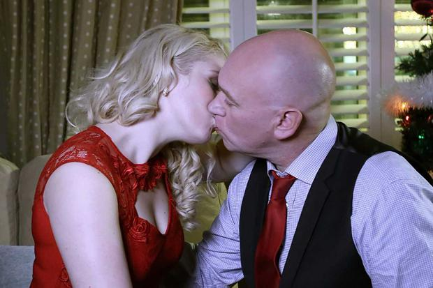 Paul and Hayley kiss in the Fair City Christmas Day episode