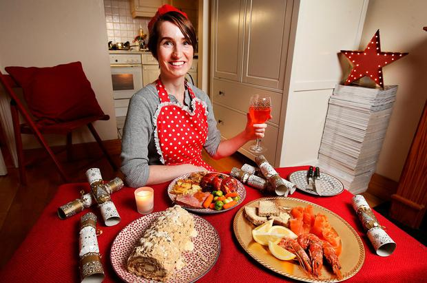 Kirsty Blake Knox with her Christmas dinner. Photo: Steve Humphreys