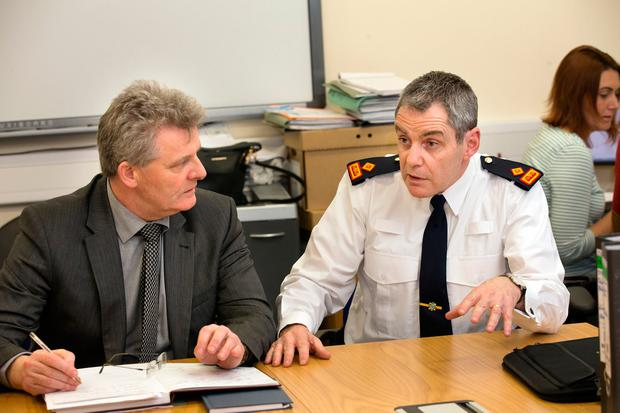 Superintendent Martin Fitzgerald, right, and Detective Inspector Martin Creighton brief the media at the incident room in Dún Laoghaire Garda station. Photo: Tony Gavin