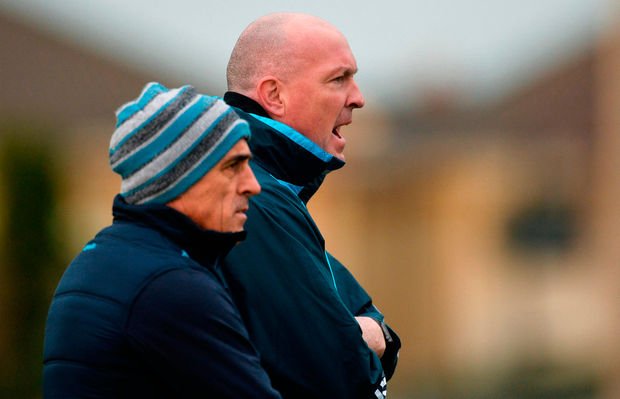 Dublin manager Pat Gilroy and coach Anthony Cunningham keeping a watchful eye on the annual Dubs Stars match. Photo: Sportsfile