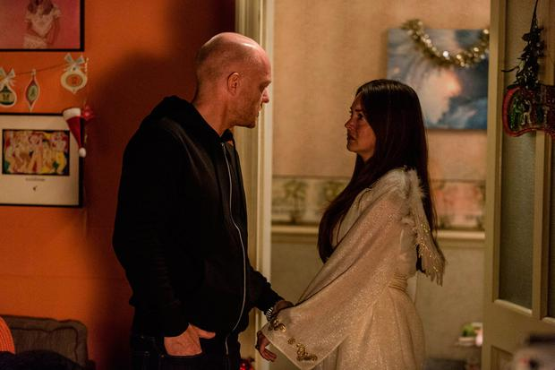 Undated BBC handout photo of Max Branning, played by Jake Wood, with Stacey Fowler, played by Lacey Turner, in the BBC1 soap EastEnders, as almost ten years after their affair was exposed in a Christmas Day special