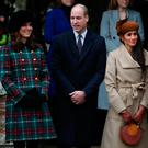 Britain's Catherine, Duchess of Cambridge, Prince William, Duke of Cambridge, Meghan Markle and Prince Harry leave St Mary Magdalene's church after the Royal Family's Christmas Day service on the Sandringham estate in eastern England, Britain, December 25, 2017. REUTERS/Hannah McKay